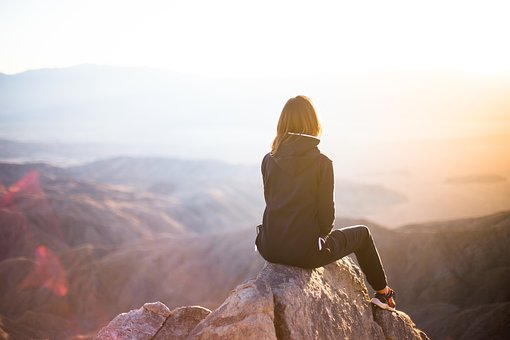 woman isolated on mountain
